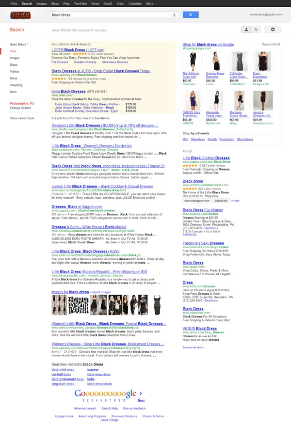 Google SERP for Black Dress 092712