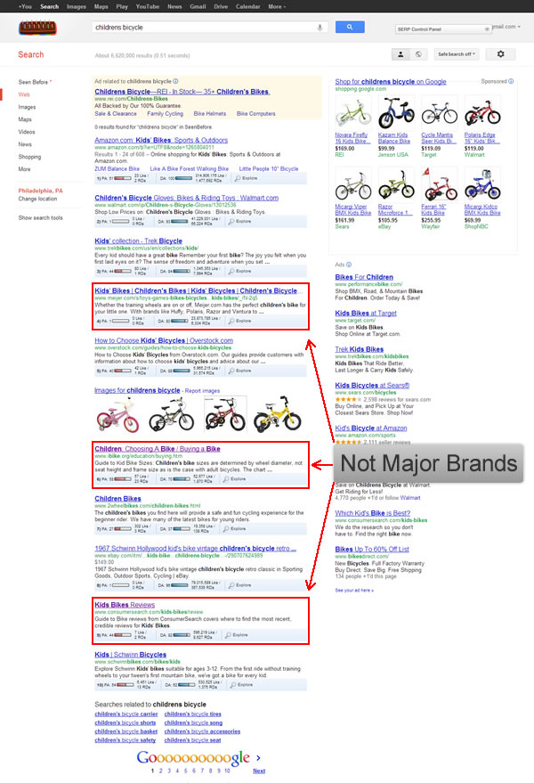 Google SERP for Childrens Bicycle 092712