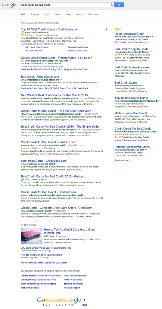 credit cards for bad credit - Google Search