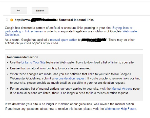 the google site penalty email in webmaster tools