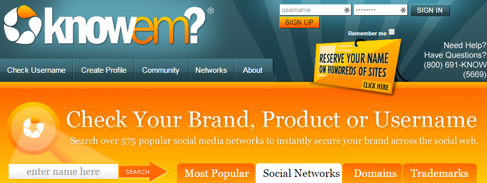 knowem for social media accounts