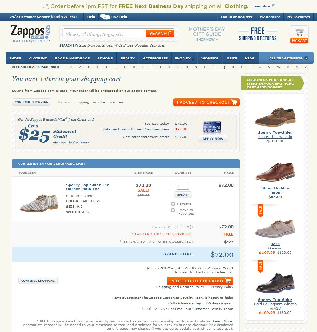 zappos checkout page